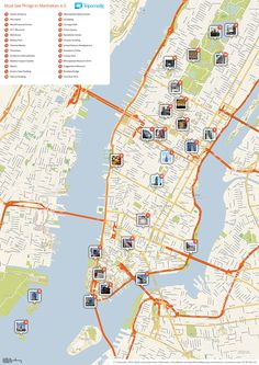 Download a printable tourist map of New Yorks Manhattan top sights and attractions.