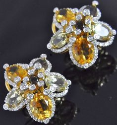 14K Yellow Gold Diamond Lemon Orange Citrine Smoky Quartz Flower Omega Earrings #Button