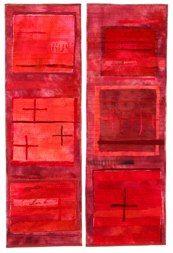 "Art quilt. Jette Clover, Monochromatic Series. Red Fields II, 2003, 27""x40"" (68x102 cm)"