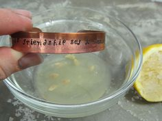 Clean your copper jewelry in 60 seconds with lemon and sea salt - show mom, might brighten her bracelets