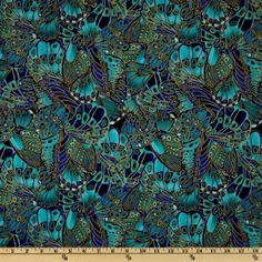Timeless Treasures Shimmer Packed Butterflies Turquoise - Discount Designer Fabric - Fabric.com