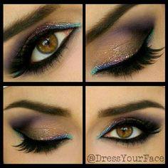 A softer version of an Arabic eye using little hints of glitter liner
