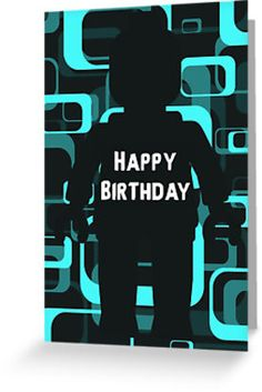 """""""Retro Minifig Art Happy Birthday Greeting Card by Customize My Minifig"""" Greeting Cards & Postcards by ChilleeW 