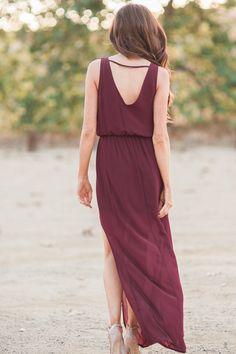 Morning Lavender, maxi dresses, long dresses, slit maxi dress, burgundy maxi dress, Fall staples, fall fashion