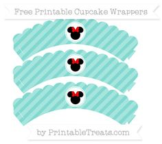 Free Tiffany Blue Diagonal Striped  Minnie Mouse Scalloped Cupcake Wrappers
