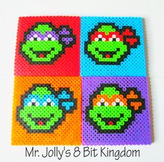 This awesome TMNT coaster set is handcrafted out of Perler beads and will make excellent decorations and coasters!    *** This item is a Mr. Jolly's 8 Bit Kingdom Exclusive!***  *** This item cannot be reproduced, sold, or redistributed (with the exclusion of the item being a gift) for any re...