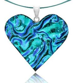 """Sterling Silver Dichroic Glass Light Blue and Dark Blue Ripple Heart-Shaped Pendant on Stainless Steel Wire, 18"""",$18.00"""