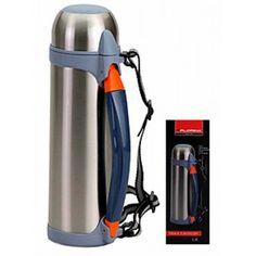 Termoska turistická 1,5l. Nerezová turistická termoska s plastovým držiakom a popruhom na zavesenie. Objem 1,5 litra. Výška 30cm.