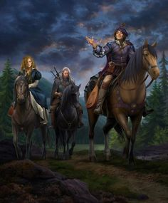 The WItcher Geralt, Jaskier and Milva The Witcher Wild Hunt, The Witcher Game, The Witcher Books, The Witcher Geralt, Witcher Art, High Fantasy, Medieval Fantasy, Fantasy World, Character Creation