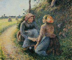 Seated and Kneeling Peasants, 1893. Camille Pissarro