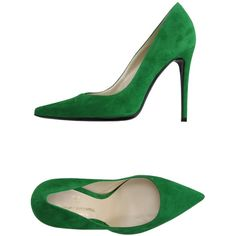 V Italia Court ($180) ❤ liked on Polyvore featuring shoes, pumps, green, leather sole shoes, green stilettos, green leather pumps, high heel stilettos and green pumps