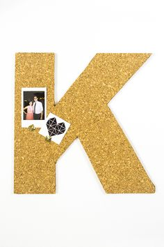 Monogrammed cork board for kids' rooms