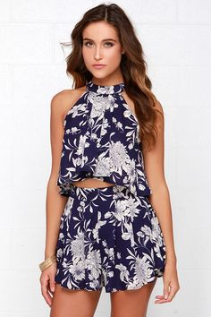 ef2676cefdb5 Go with the Floral Navy Blue Floral Print Two-Piece Set