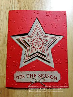 Holiday card made using Stampin' Up! Many Merry Stars stamp set & Star Framelits . Handmade card created by Brenda Montesano-Independent Stampin' Up! Demonstrator.Please visit my site at www.montesano.ca