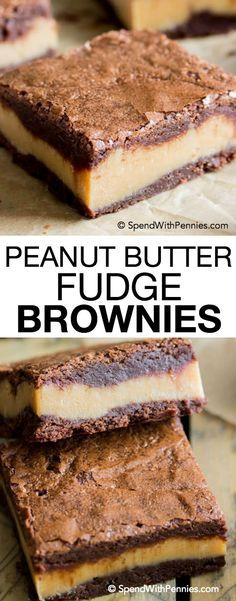 These decadent, surprise-inside peanut butter fudge brownies are made of fudgy chocolate brownies with a thick layer of simple peanut butter fudge sandwiched in the middle! (Chocolate Butter Squares)