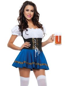Beer maiden dress with tie up front. Hosiery and mug not included. Beer maiden dress with tie up front. Hosiery and mug not included. Sexy Halloween Costumes, Girl Costumes, Costumes For Women, Halloween Fun, Costume Ideas, German Costume, Beer Girl, Renaissance Costume, Chemises