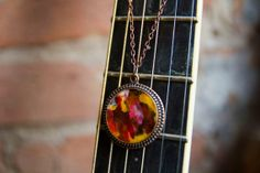 #Resin #pendant #necklace with one of a kind hand painted artwork