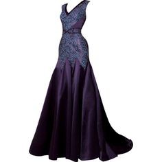 Dina JSR - edited by mlleemilee ❤ liked on Polyvore featuring dresses, gowns, long dresses, vestidos, purple ball gown, long purple dress, purple evening dresses and purple evening gown