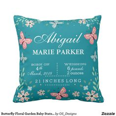 Butterfly Floral Garden Baby Stats Pillow