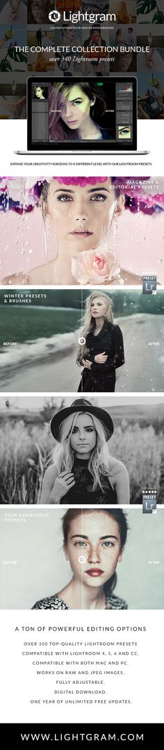 Pin to Win!  The Complete Lightroom Presets Collection 347 Pro Lightroom Presets.  All 17 of our Lightroom Presets Collections in one bundle…  www.lightgram.com  #lightroom #lightroompresets #freebies