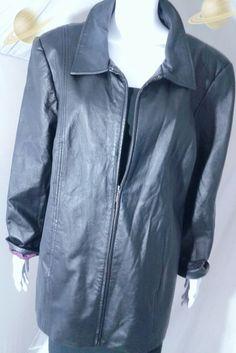 KIM ROGERS Black Leather Jacket Size 2X Zip Up Leather Jacket Blazer | Clothing, Shoes & Accessories, Women's Clothing, Coats & Jackets | eBay!