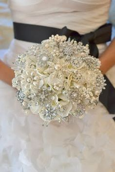 A broach bouquet.  At the bridal shower each woman brings a broach to be made into the bride's bouquet.