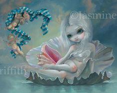 Venus with Cherubs - goddess art by Jasmine Becket-Griffith big eye art, big eyed girl venus, birth of venus pop surrealism lowbrow art Venus shell painting