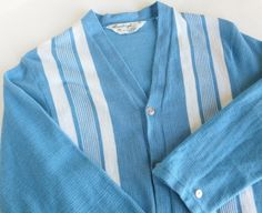 Mens Vintage Cardigan Sweater Carolina Blue and White by BornAtTheWrongTime #rockabilly #hipster #ratpack