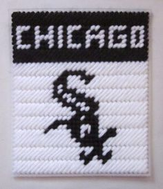 Chicago White Sox tissue box cover in plastic canvas PATTERN ONLY by AuntCC, $2.50 USD Plastic Canvas Tissue Boxes, Plastic Canvas Crafts, Plastic Canvas Patterns, Plastic Craft, Box Patterns, Craft Patterns, Crochet Patterns, Baseball Teams, Sports Teams