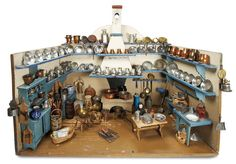 "Early 19th Century Nuremberg Kitchen with Extensive Early Dishes and Utensils  28"" (71 cm.) h. x 35""w. x 20""d.s"