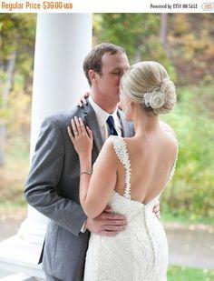 Bridal Hair Accessories Champagne Wedding Hair Clip by BelleBlooms