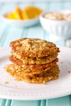 A little crispy, a little chewy, these one bowl Orange Ginger Oatmeal Crisps have a hint of ginger and  orange - perfect with a bowl of ice cream or sorbet!