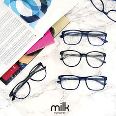 Blue eyeglasses + Try 5 + At Home Try-On
