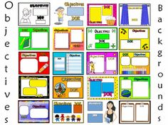 Objectives and DOK backgrounds for your Smart or Promethean Activboard.  Also available in a zip file of png images to print, laminate and cut out!
