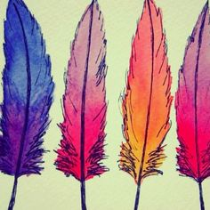 Feathers. Watercolors and sharpie pen.