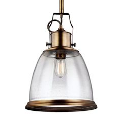 Feiss Aged Brass Hobson 1 Light Full Sized Pendant