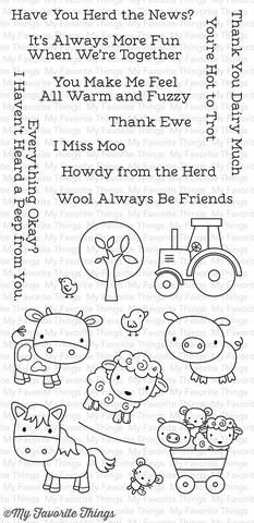 "MFT STAMPS: Farm Friends (4"" x 8.5"" Clear Photopolymer Stamp Set) This package includes Farm Friends, a 21 piece set including: - Horse 1 5/8"" x 1 3/8"" - Cow 1 3/8"" x 1 1/4"" - Pig 1 1/4"" x 1 1/8"" - Sh"