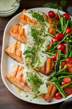 Grilled Salmon with Creamy Pesto Sauce - Cooking Classy - -You can find Pesto and more on our website.Grilled Salmon with Creamy Pesto Sauce - Cooking Classy - - Baked Salmon Recipes, Fish Recipes, Seafood Recipes, Dinner Recipes, Tilapia Recipes, Healthy Snacks, Healthy Eating, Healthy Recipes, Clean Recipes