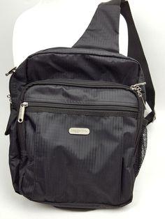 bcc0fb28829 Baggallini crossbody sling backpack messenger black nylon travel bag