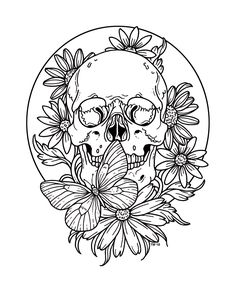 Ok, it's going to happen! I'm working on my first adult colouring book💀. It will take some time and I don't know yet how and what and where…. however, drawings could look like this🔝. You can copy this one and print it out if you like (it's DIN Kunst Tattoos, Tattoo Drawings, Art Drawings, Tattoo Outline Drawing, Flash Art, Tattoo Motive, Arm Tattoo, Coloring Books, Coloring Pages