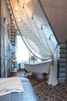 Dramatic Lace Bath Tub Privacy Curtain