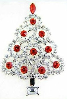 Vintage Inspired Red Christmas Tree Pin