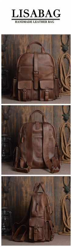 Handmade Vegetable Tanned Leather School Backpack Large Travel Backpack 15'' Laptop Bag 9045