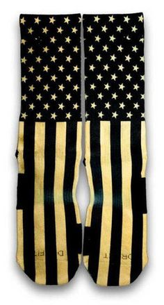 info for 7fb63 7b183 ... CUSTOM SOCKS - IN STOCK We turnt up the classic stars and stripes from  the traditional colors to our signature black and gold. looks great on any  shoes ...