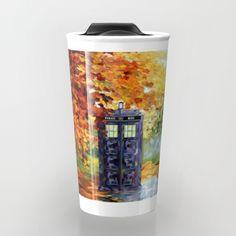 starry Autumn blue phone box Digital Art Travel mug #Travelmugs #tardis #doctorwho #painting #art #starrynight #autumn