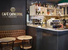 Café Cathedral in Oslo, designed by Metropolis arkitektur & design. Ragnar, Oslo, Wine Recipes, Liquor Cabinet, Cathedral, Interior, Table, Projects, Furniture