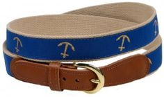 Preston Leather Golden Anchor Belt Blue 34