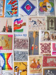 Pride of Poland 50 Vintage Polish Postage Stamps by preciousowl, $6.00