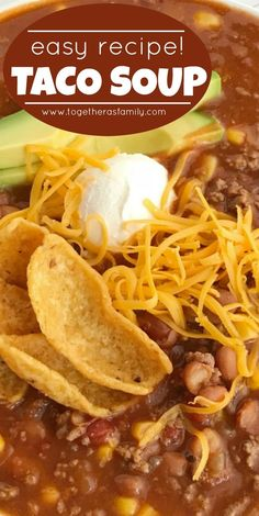 Easy Taco Soup is loaded with ground beef, chili beans, corn, and tomatoes. One pot and about 30 minutes is all you need for this taco soup recipe. Ground Beef Recipes Easy, Easy Soup Recipes, Easy Dinner Recipes, Easy Meals, Cooking Recipes, Mince Recipes, Healthy Recipes, Ground Beef Chili, Ground Beef Soups