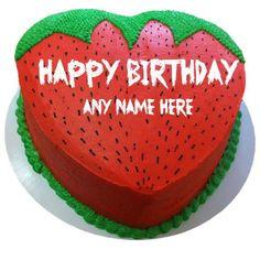 write name on happy birthday strawberry shape cake images Latest Birthday Cake, Sweet Birthday Cake, Happy Birthday Chocolate Cake, Strawberry Birthday Cake, Birthday Wishes Cake, Happy Birthday Cakes, Birthday Cake Write Name, Birthday Cake Writing, Cake Name